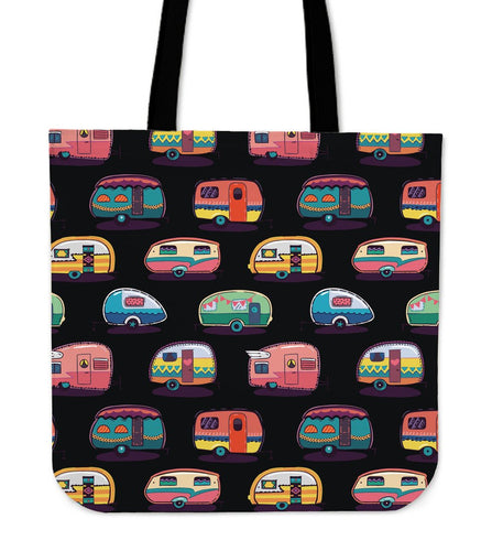 Camper Camping Pattern Tote Bags