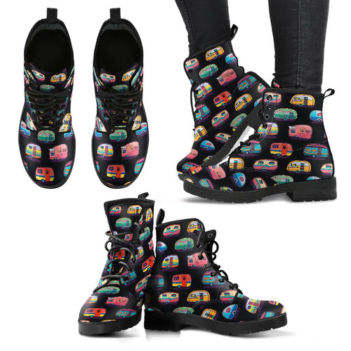 Camper Camping Pattern Women Leather Boots