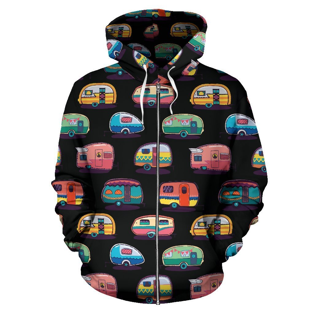 Camping All Over Zip Up Hoodie