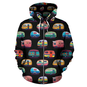 Camper Camping Women Men Zip Up Hoodie