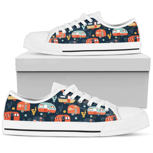Camper Caravan Print Pattern Women Low Top Shoes