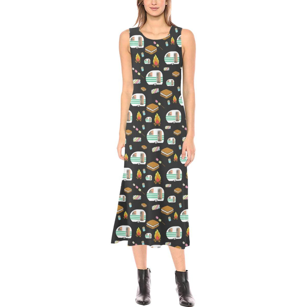 Camper marshmallow Camping Design Print Sleeveless Open Fork Long Dress