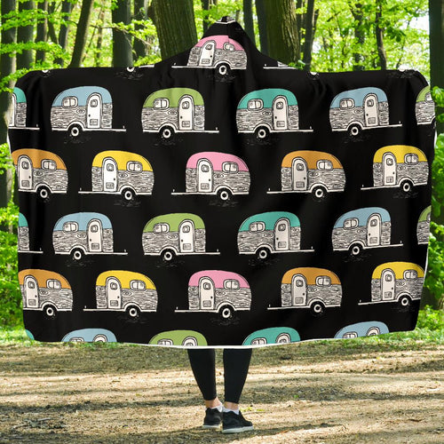 Camper Pattern Camping Themed No 2 Print Hooded Blanket-JORJUNE.COM