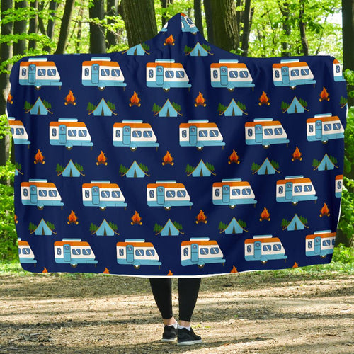 Camper Pattern Camping Themed No 3 Print Hooded Blanket-JORJUNE.COM