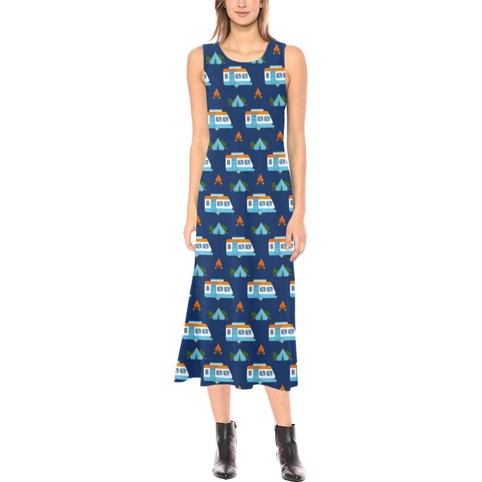 Camper Pattern Camping Themed No 3 Print Sleeveless Open Fork Long Dress