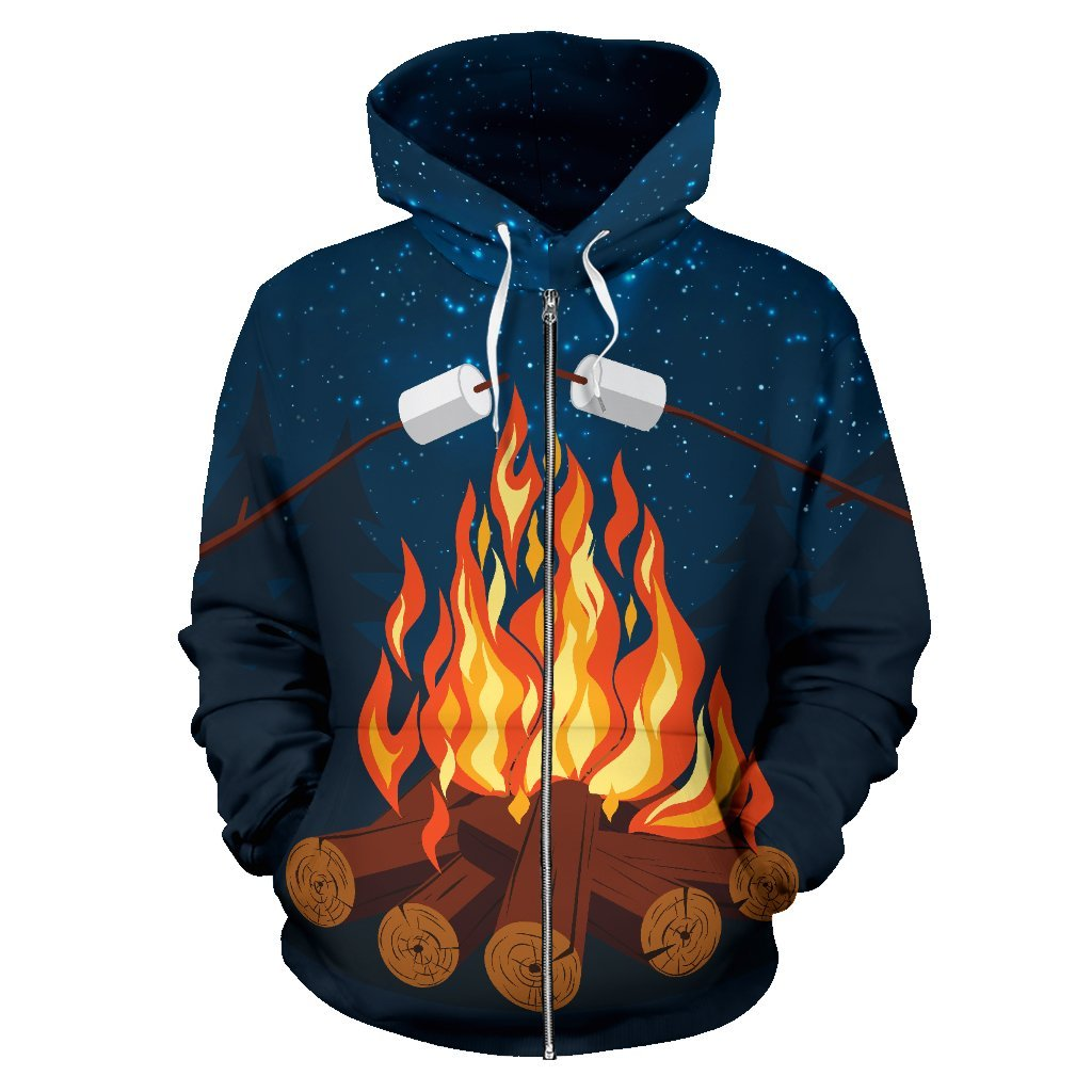 Campfire Camping Women Men Zip Up Hoodie