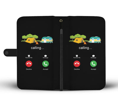 Camping calling Wallet Phone Case