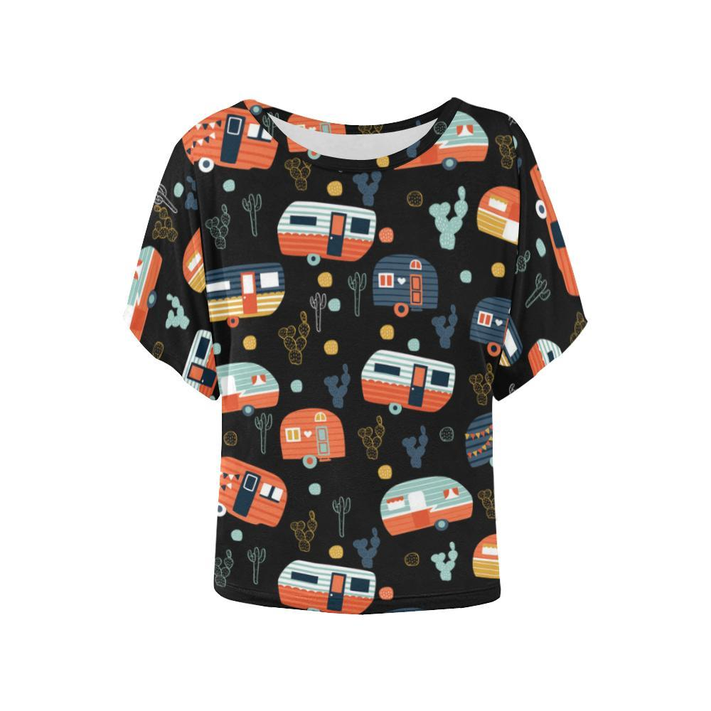 Camping Camper Orange Women Batwing Tops Shirt