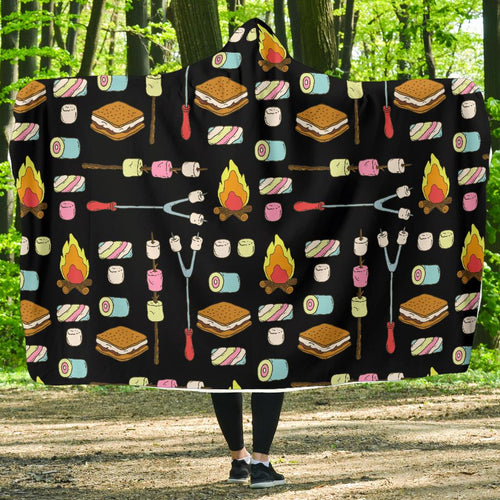 Camping Campfire Marshmallows Hooded Blanket-JORJUNE.COM