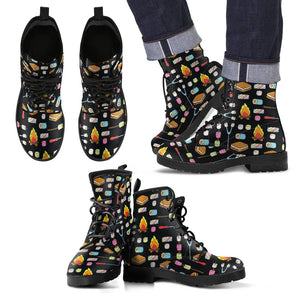 Camping Campfire Marshmallows Men Leather Boots