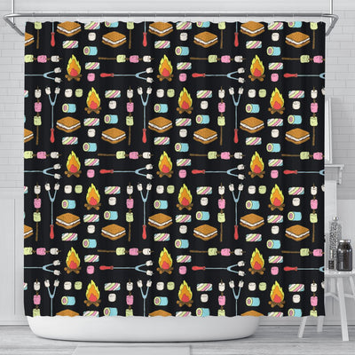 Camping Campfire Marshmallows Shower Curtain