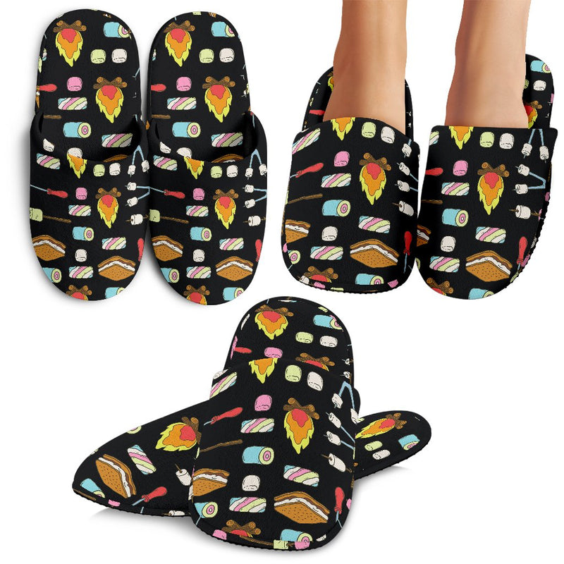 Camping Campfire Marshmallows Slippers