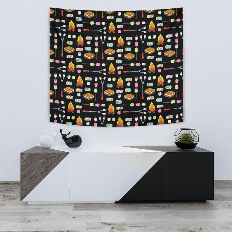 Camping Campfire Marshmallows Tapestry