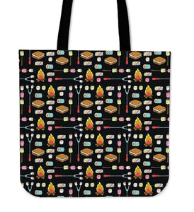 Camping Campfire Marshmallows Tote Bags
