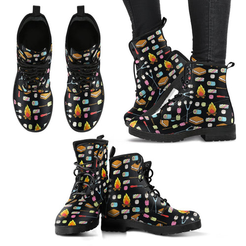 Camping Campfire Marshmallows Women Leather Boots