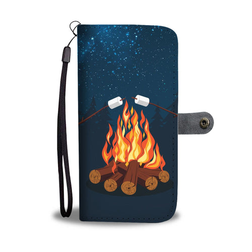 Camping Campfire Wallet Phone Case