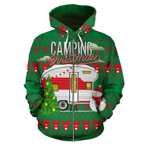 Camping Christmas All Over Zip Up Hoodie