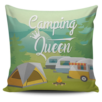 Camping King Queen Throw Pillow Cover