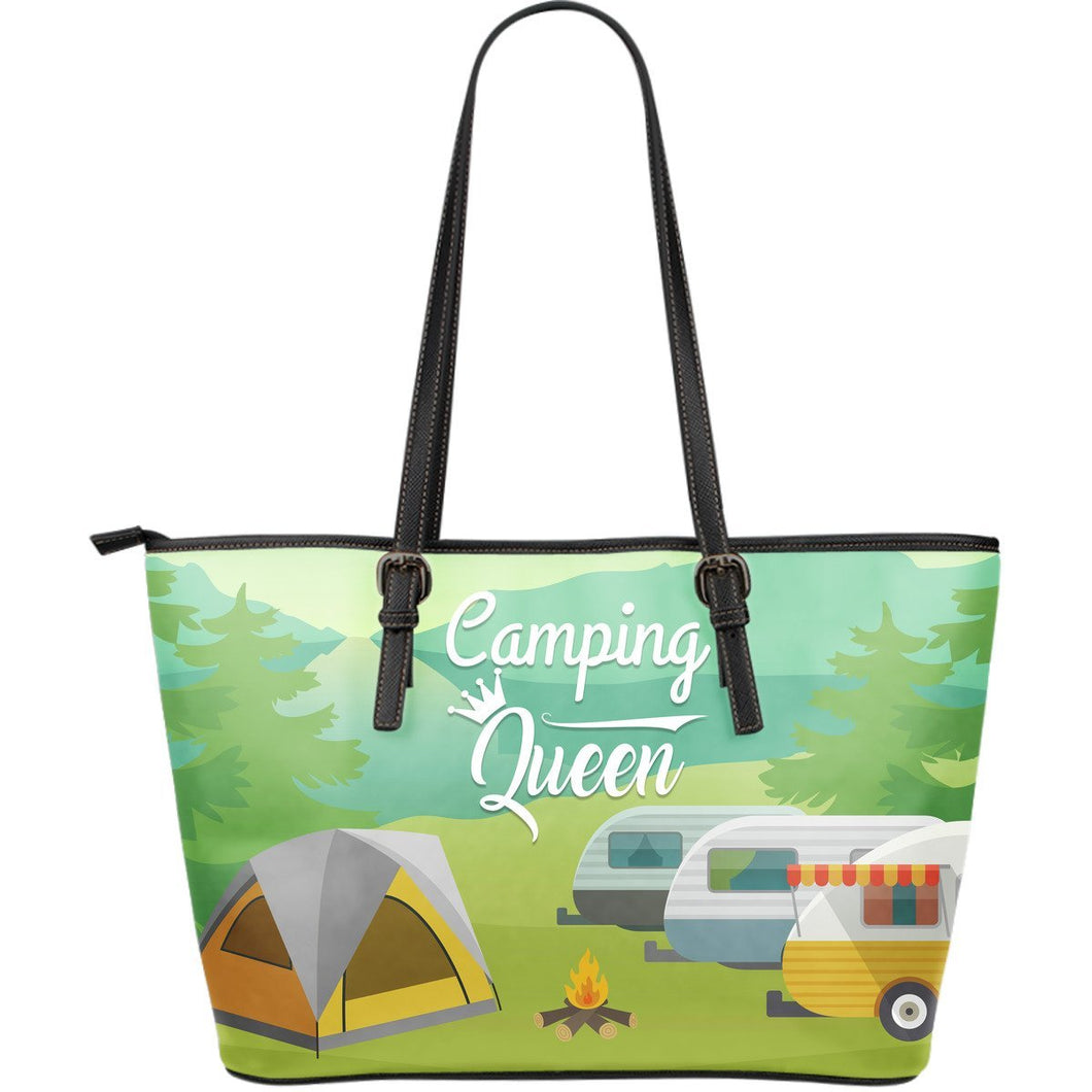 Camping Queen Large Leather Tote Bag