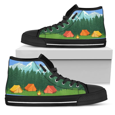 Camping tent Women High Top Canvas Shoes