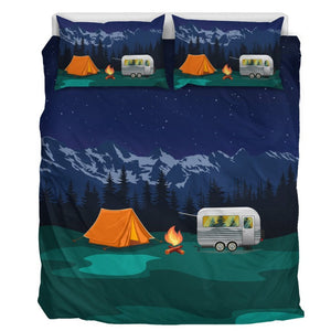 Camping under the stars Camper Tent Duvet Cover Bedding Set