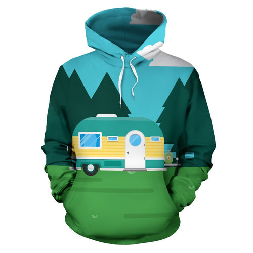 Camping with Camper no3 Design All Over Print Hoodie