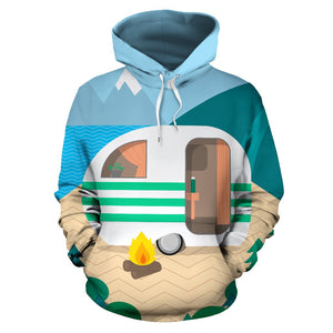 Camping with Camper Themed All Over Print Hoodie