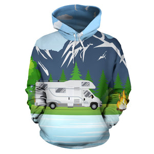 Camping With Motorhome no2 Design All Over Print Hoodie