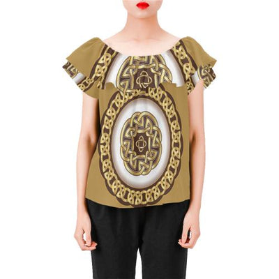 Celtic Gold Off Shoulder Ruffle Blouse
