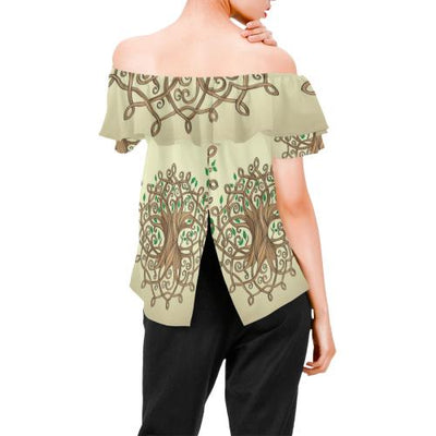 Celtic Tree of life Off Shoulder Ruffle Blouse