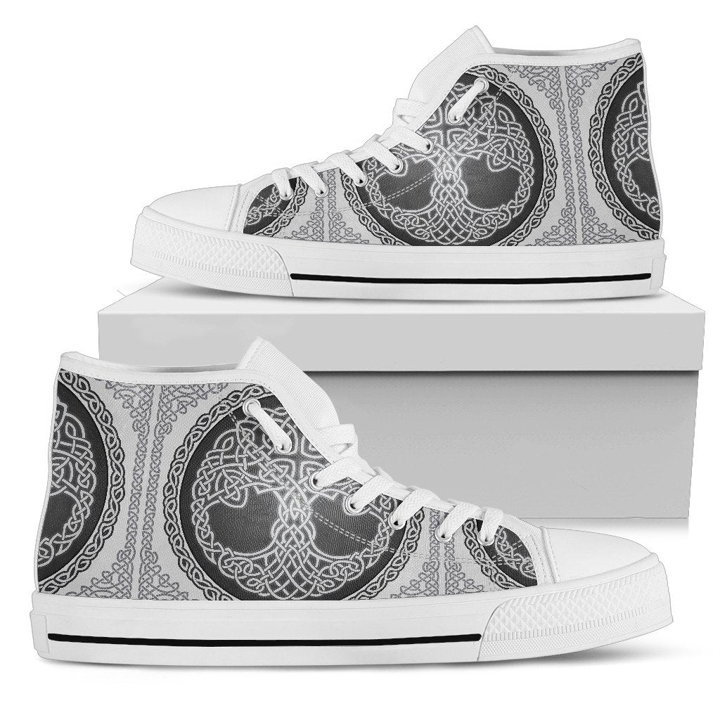 Celtic Tree of life Print Men High Top Shoes