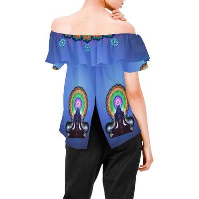 Chakra Zen Yoga Off Shoulder Ruffle Blouse
