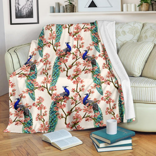 Cherry Blossom Peacock Fleece Blanket