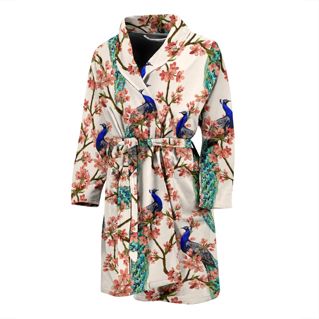 Cherry Blossom Peacock Men Bath Robe