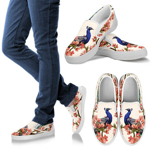 Cherry Blossom Sakura Peacock Men Canvas Slip On Shoes