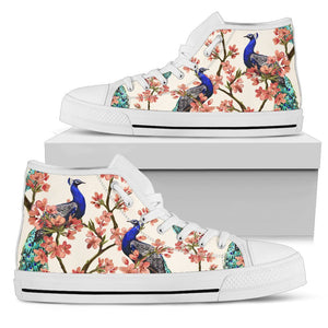 Cherry Blossom Sakura Peacock Men High Top Canvas Shoes