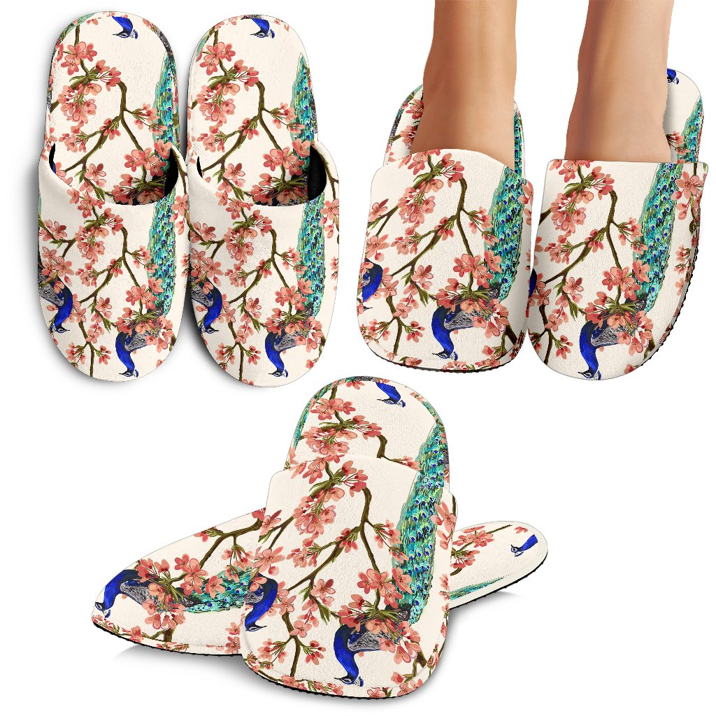 Cherry Blossom Peacock Slippers