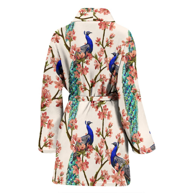Cherry Blossom Peacock Women Bath Robe