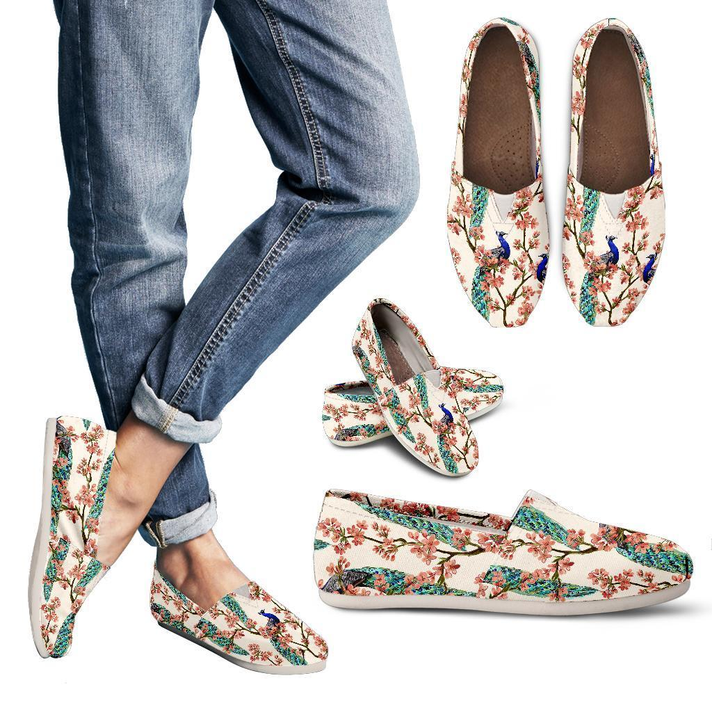 Cherry Blossom Peacock Women Casual Shoes-JorJune.com