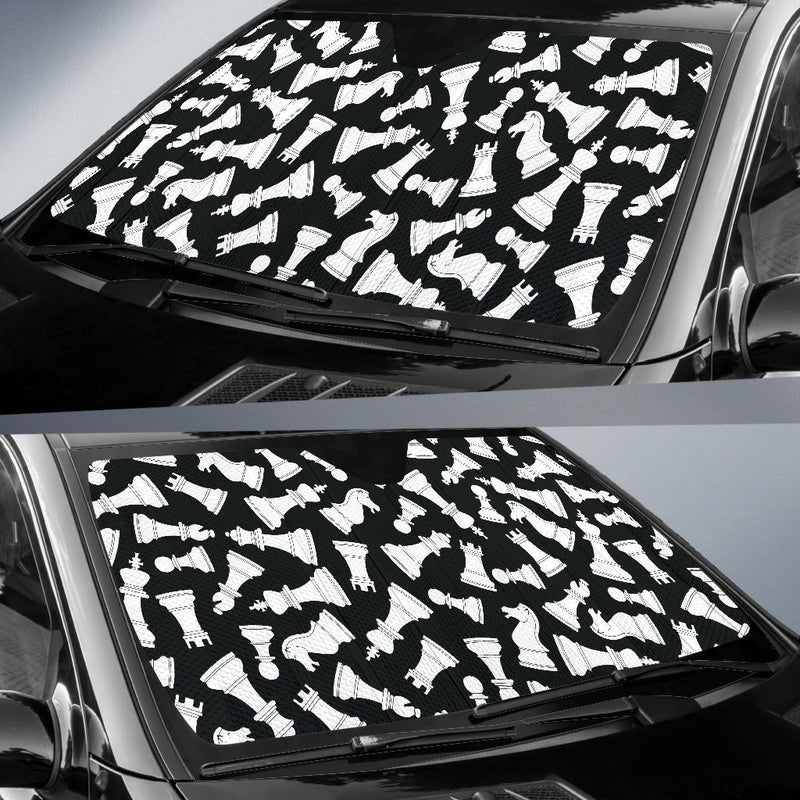 Chess Pattern Print Design 01 Car Sun Shade-JORJUNE.COM