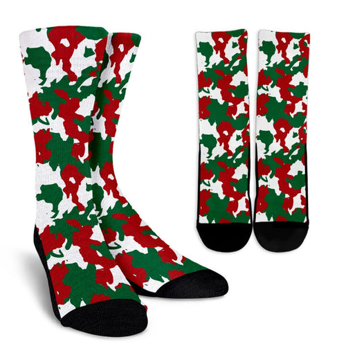 Christmas Color Camo Camouflage Print Crew Socks