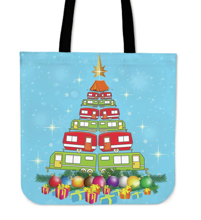 Christmas tree camper camping caravan Tote Bag