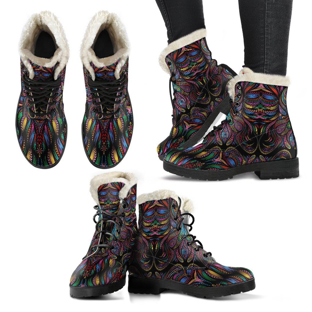 Colorful Art Wolf Faux Fur Leather Boots