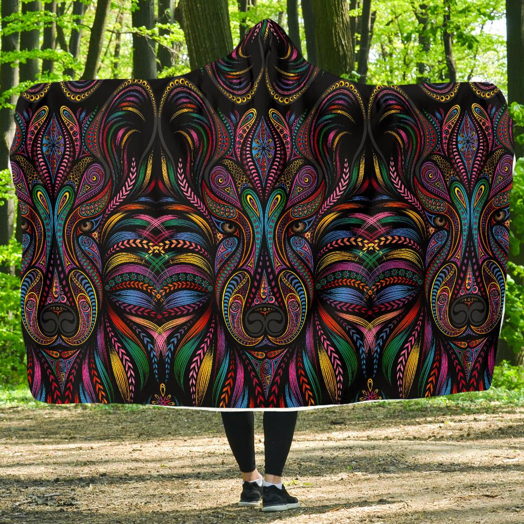 Colorful Art Wolf Hooded Blanket-JORJUNE.COM
