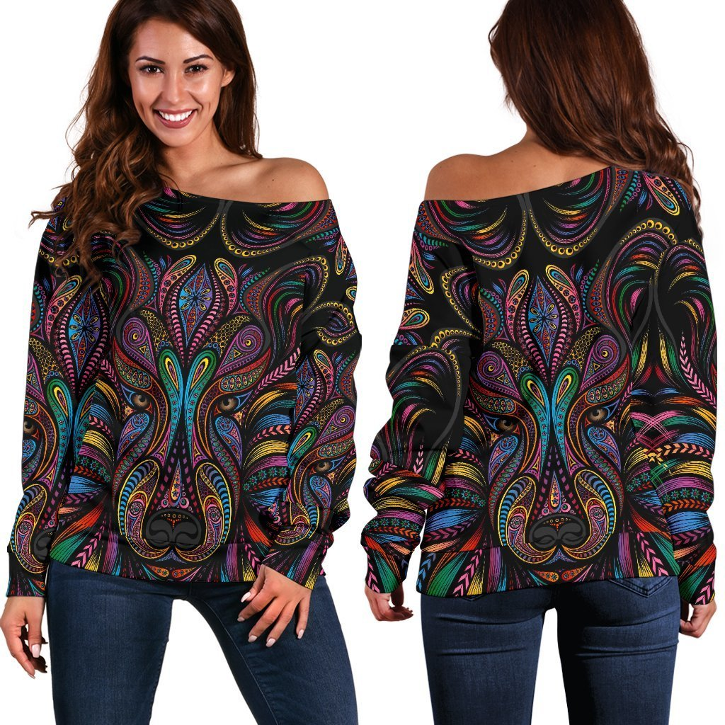 Colorful Art Wolf Off Shoulder Sweatshirt