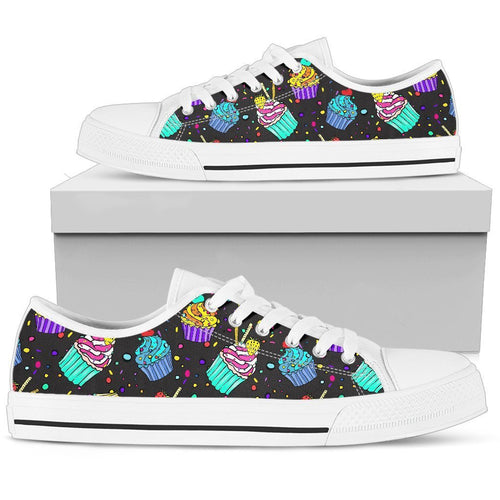 Colorful Cupcake Pattern Men High Top Canvas Shoes