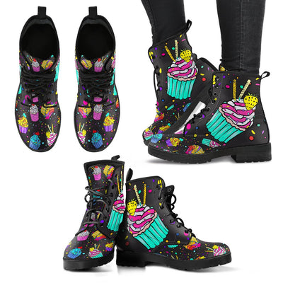 Colorful Cupcake Pattern Women & Men Leather Boots