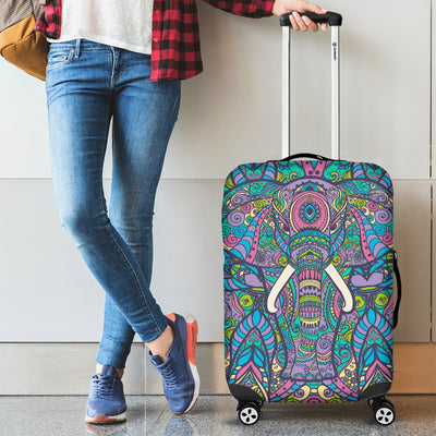 Colorful Elephant Indian Print Luggage Cover Protector