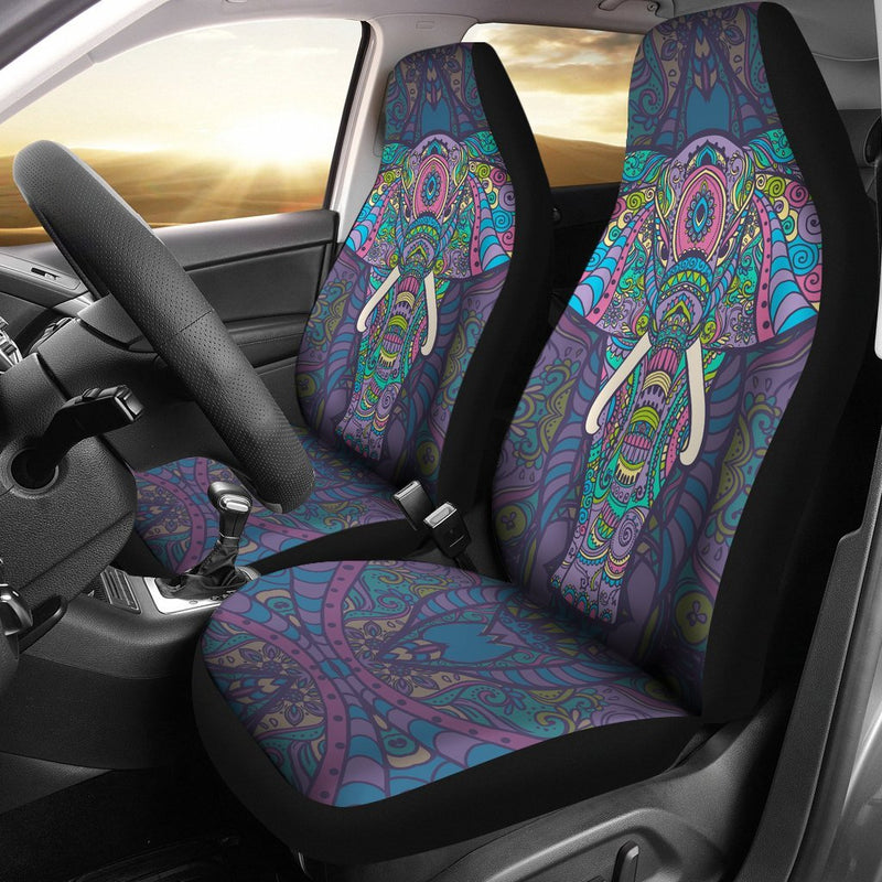 Colorful Elephant Indian Print Universal Fit Car Seat Covers