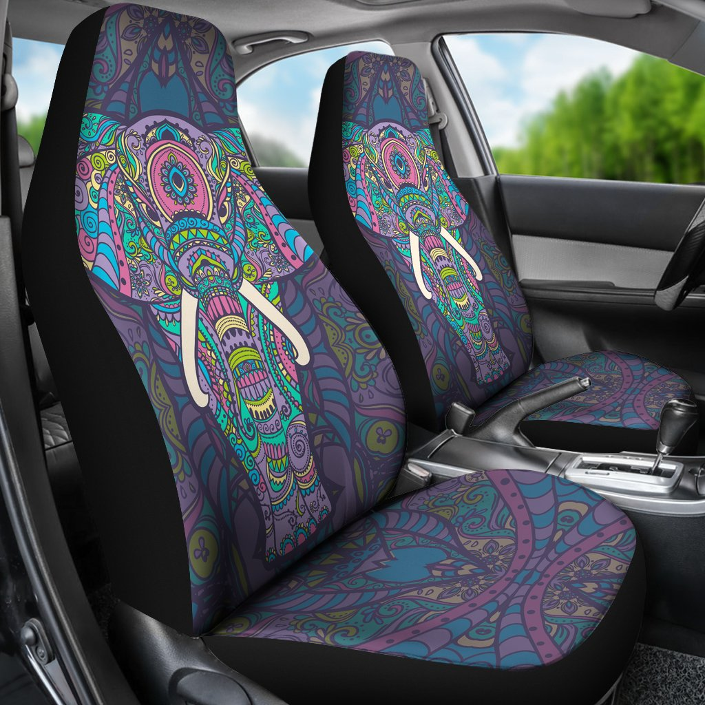 Colorful Elephant Indian Print Universal Fit Car Seat Covers Jorjune